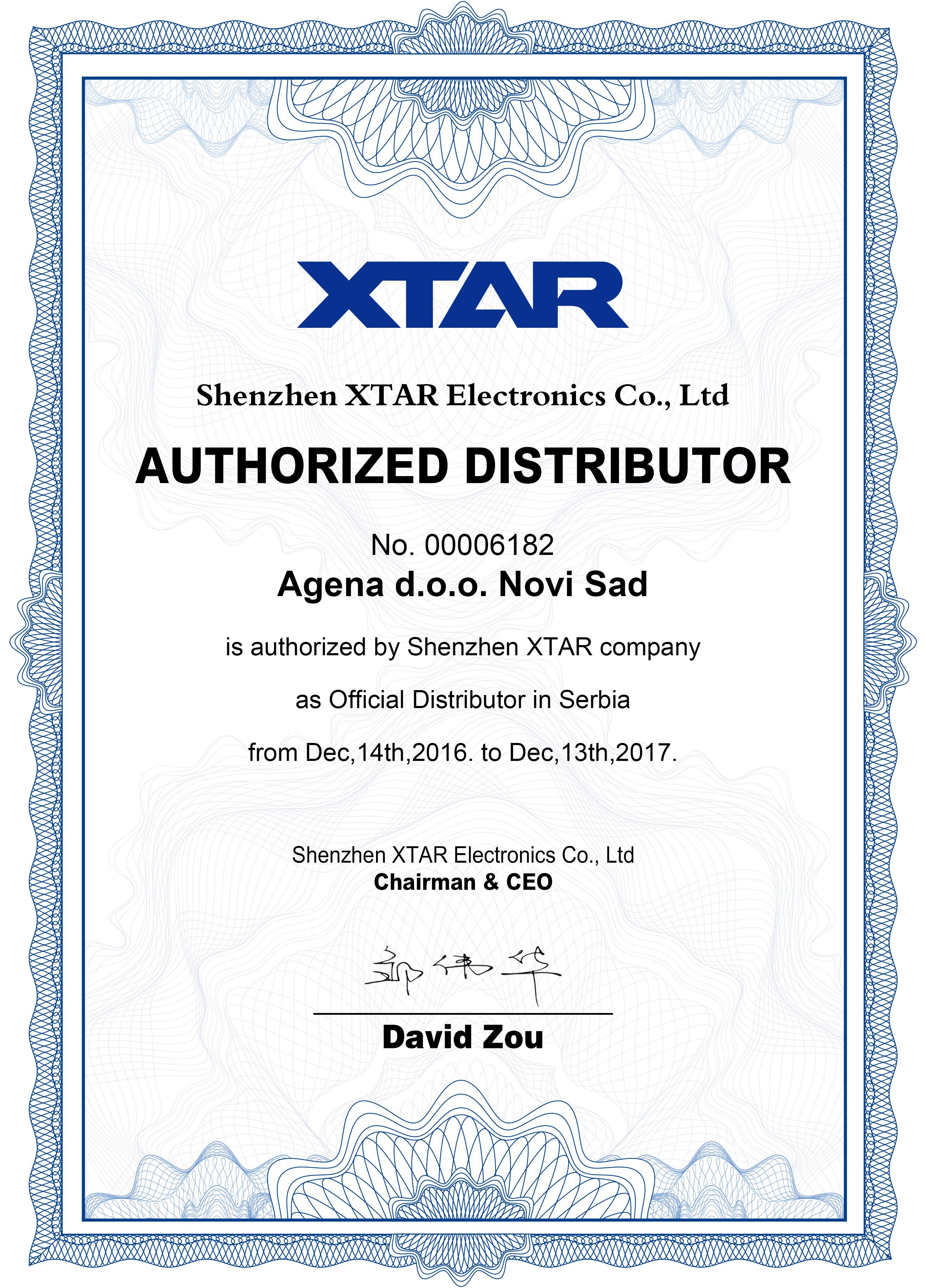 XTAR sertifikat