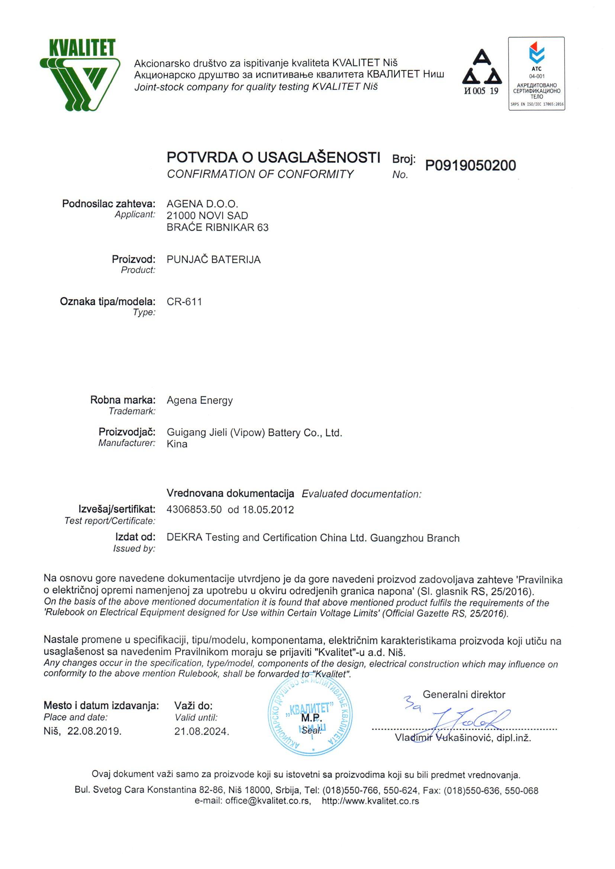 Agena Energy CR-611 LVD potvrda o usaglašenosti