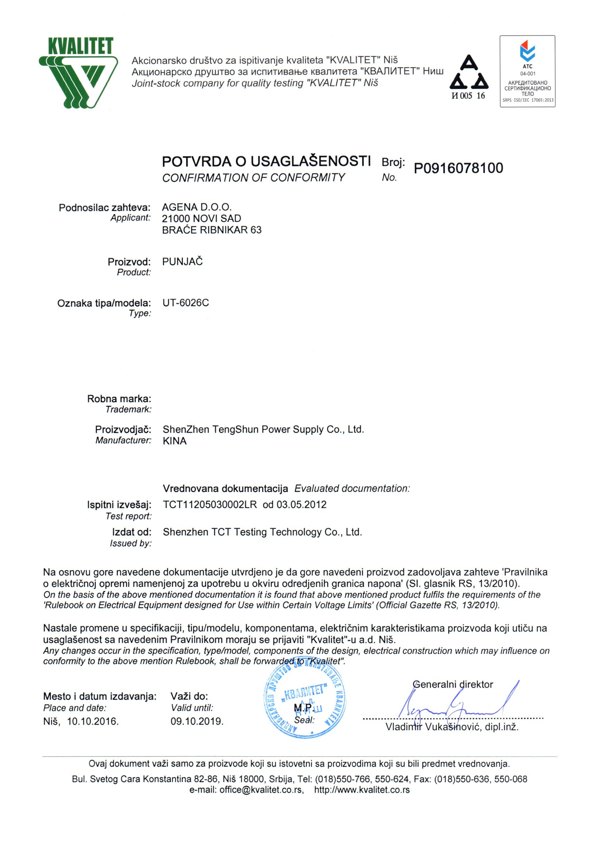 UT-6026C LVD potvrda o usaglašenosti